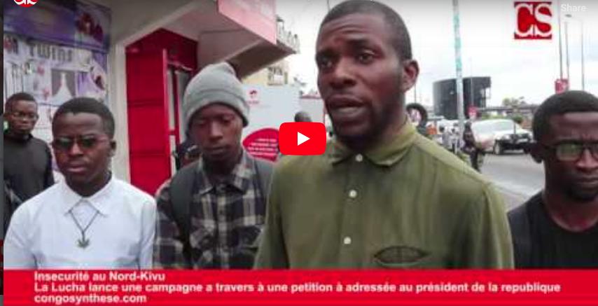 Insécurité au Nord-Kivu, La Lucha adresse une pétition au président Felix Tshisekedi
