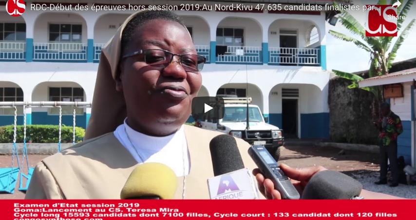 RDC-Début des épreuves hors session 2019:Au Nord-Kivu 47.635 candidats finalistes participent