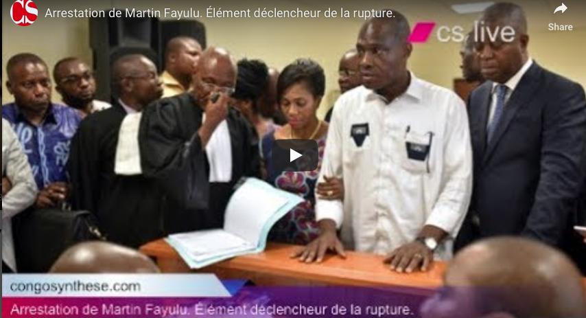 Arrestation de Martin Fayulu. Élément déclencheur de la rupture.