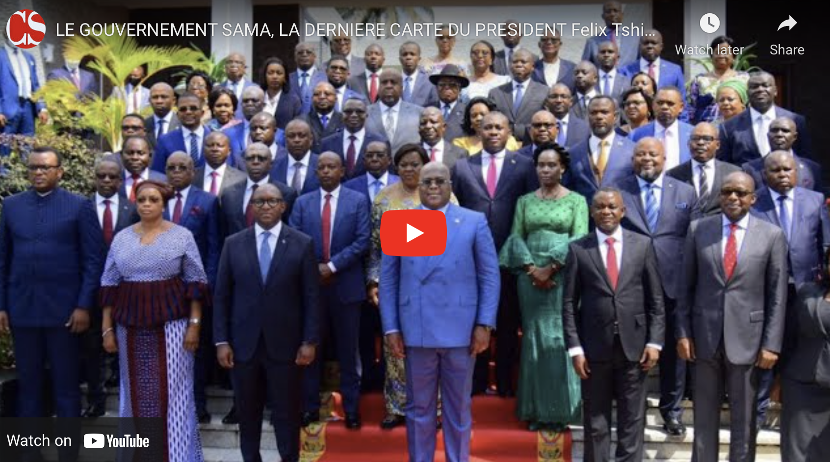 LE GOUVERNEMENT SAMA, LA DERNIERE CARTE DU PRESIDENT Felix Tshisekedi.